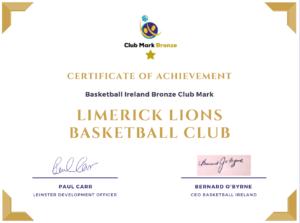 Limerick Lions Bronze Mark